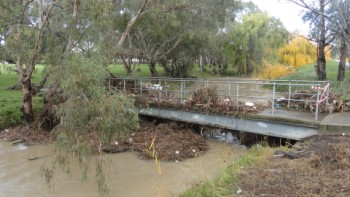 Flooding aftermath - bridge to Coburg pool 350 x 197