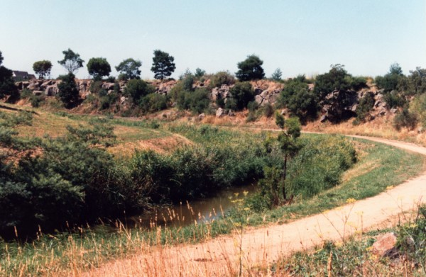 Basalt Escarpment on Merri Creek at Moomba Park Reserve, Fawkner, Victoria, Australia