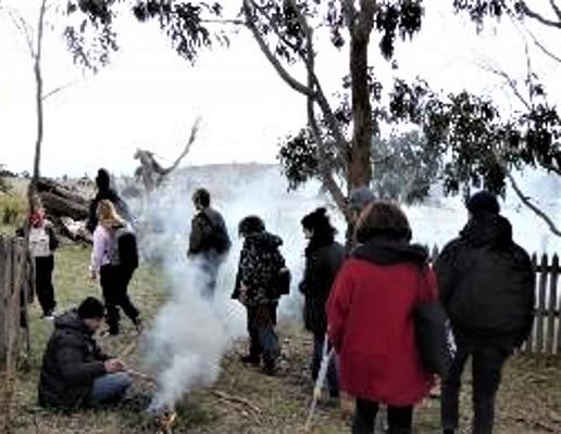Smoking ceremony at Mt William quarry