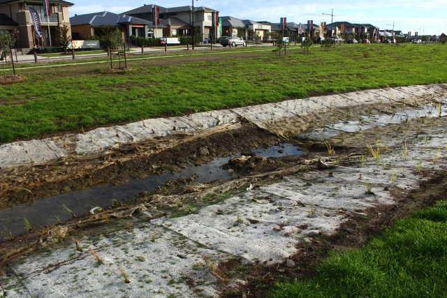 constructed waterway near St Georges Rd southside Donnybrook Rd with rilling