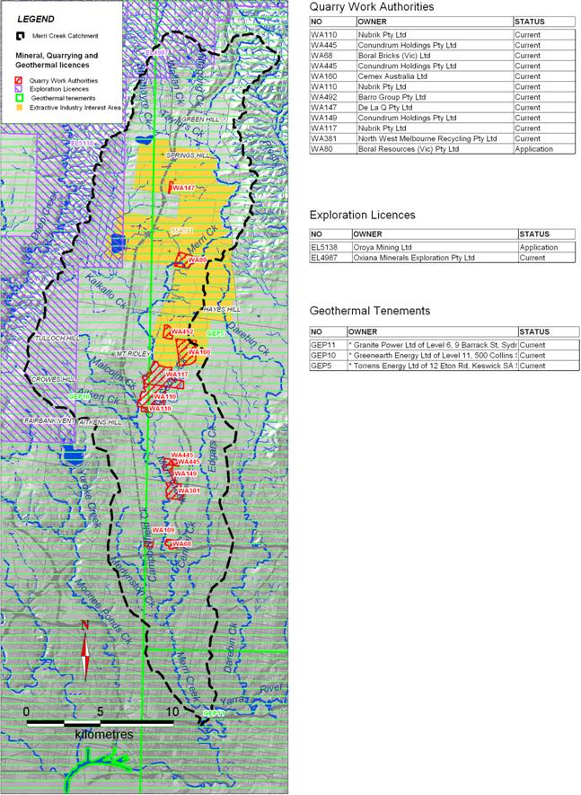 Mineral Quarrying and Geothermal licences in the Merri Catchment
